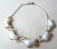 Vintage Large White Lucite Abstract Panel Necklace By Jewelcraft.